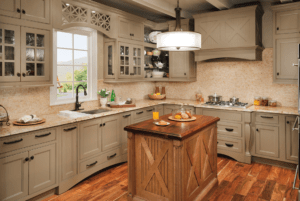 wood island with custom cabinets